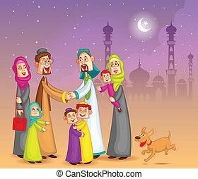 Muslim families wishing Happy Eid - Muslim families wishing...