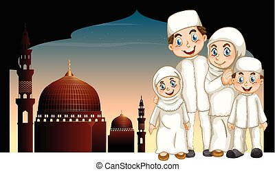 Muslim family and mosque illustration