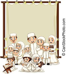 Muslim family and wooden frame