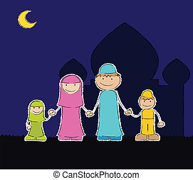 Muslim Family at Mosque