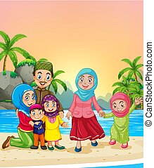 Muslim family at the beach