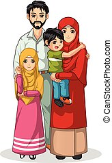 Muslim Family Cartoon Character Vector Illustration