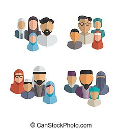 Muslim family icons vector set. Middle eastern people avatars