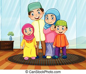 Muslim family in the living room