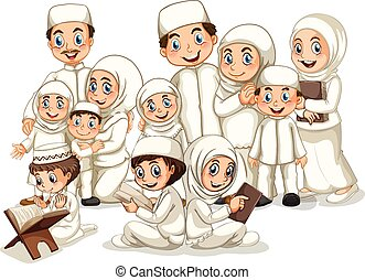 Muslim family - Large muslim family in white costume