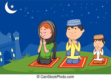 Muslim family offering namaaz on Eid in vector