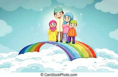 Muslim family standing on the rainbow
