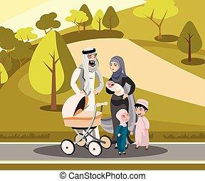 Muslim family walking with kid in park