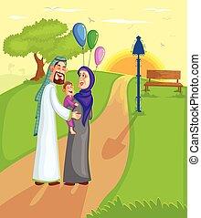 Muslim family walking with kid