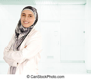 Muslim female doctor in hospital