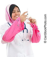 Muslim female medical doctor