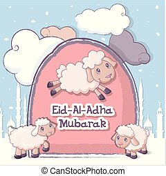 Muslim Festival Eid-Ul-Adha banner, cartoon style - Muslim...