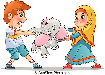 Muslim Girl and Boy Fighting Over a Doll