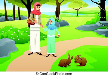 Muslim Girl and Her Mother Walking in a Park