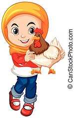Muslim girl holding a chicken