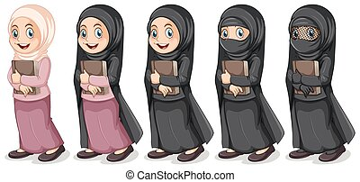 Muslim girl holding book illustration