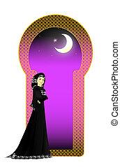 Muslim girl in Abayah - A muslim girl in Abayah standing in...
