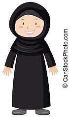 Muslim girl in black dress