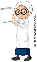 Muslim girl in science gown holding book on white background