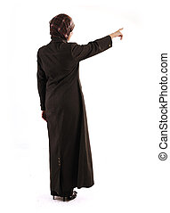 Muslim girl pointing on white background