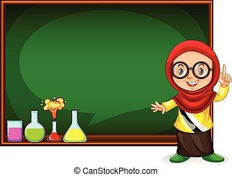 Muslim girl presenting with blackboard illustration