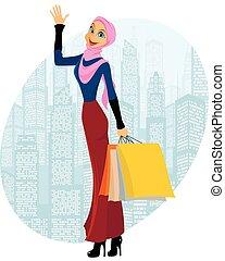 Muslim girl shopping