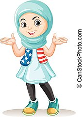 Muslim girl with happy face