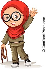 Muslim girl with red scarf illustration
