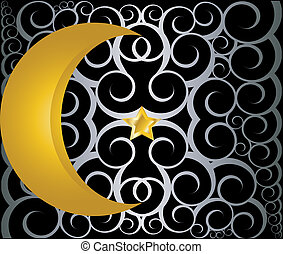 muslim gold star and crescent