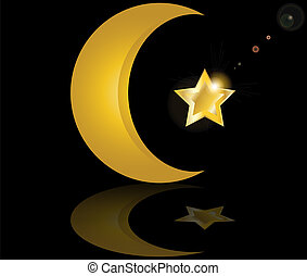 muslim gold star and crescent on black background with...
