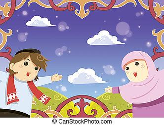 Muslim greeting card - Eid mubarak greeting card