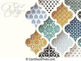 Muslim holiday Eid al Adha greeting card. Close-up of colorful ornamental arabic tiles, patterns through white mosque window. Ramadan invitation, vector arabesque illustration bacground, modern design.