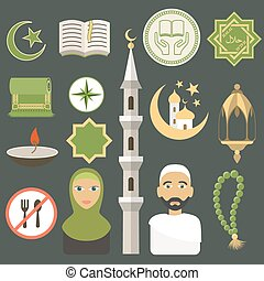 Muslim icons set. Flat style. Vector illustration.