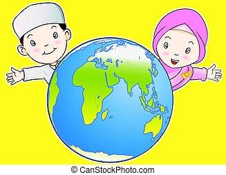 Muslim Kids and the World - Vector Cartoon