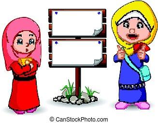 Muslim kids cartoon with wooden sign