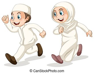 Muslim kids - Muslim boy and girl running