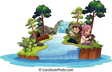 Muslim kids reafing book in nature