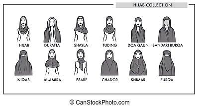 muslim, kobieta, hijab, typ, wzory, zbiór, wektor, odizolowany, samica, islamski, fason, kreska, ikony