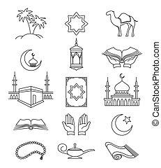 Muslim line signs for ramadan kareem - Vector muslim line...