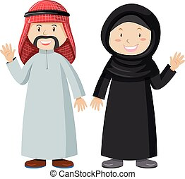 Muslim man and woman together illustration