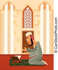 Muslim man character praying in mosque. Vector flat cartoon...
