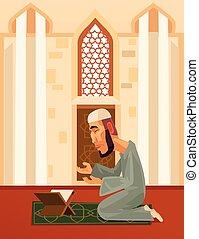 Muslim man character praying in mosque. Vector flat cartoon...