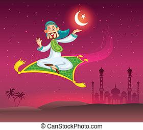 Muslim man flying on magic carpet wishing Eid mubarak