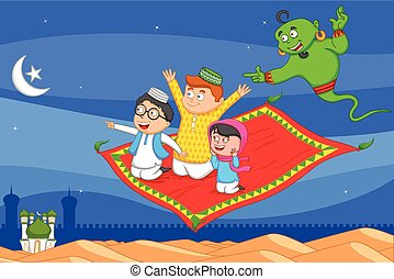 Muslim man flying on magic carpet wishing Eid mubarak, Happy...