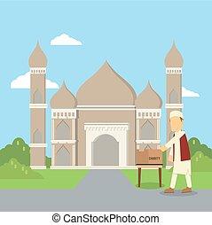 muslim man giving charity