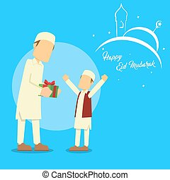 muslim man giving present to his son