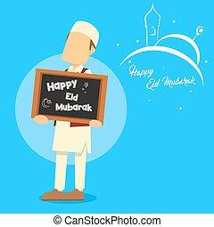 muslim man holding happy eid mubarok sign