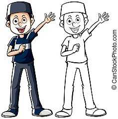 Muslim man in blue shirt illustration