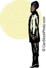 Muslim Man in Qiyam Prayer Position - Side view on Black...