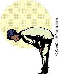 Muslim Man in Ruku Prayer Position - Side view on Black...